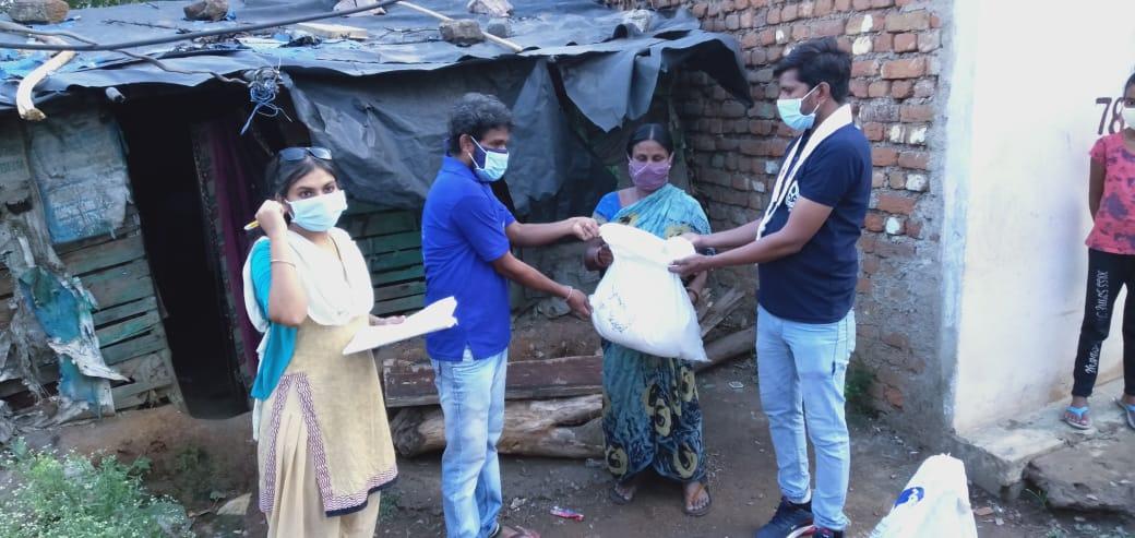 Dry ration Distribution at Saraswati Nagar, Raipur